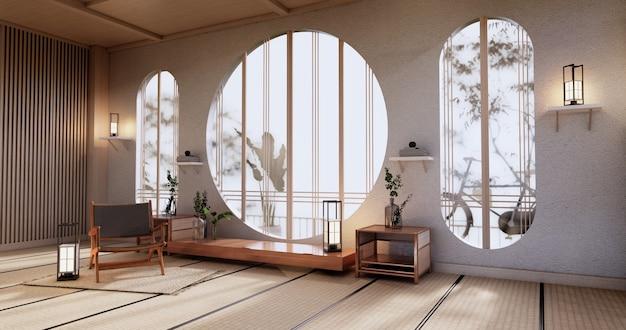 Kabinett-mock-up, minimales wohnzimmer, tatami-mattenboden und sesseldesign. 3d-rendering