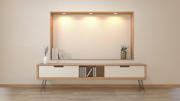 Kabinett und dekoration im leeren raum des modernen zens, minimale designregalwand, wiedergabe 3d
