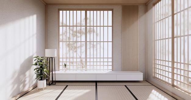 Kabinettdesign, weißrauminnenraum modern, japanischer stil. 3d-rendering
