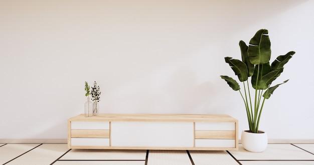 Kabinettholzdesign auf modernem raum japanese.3d-rendering