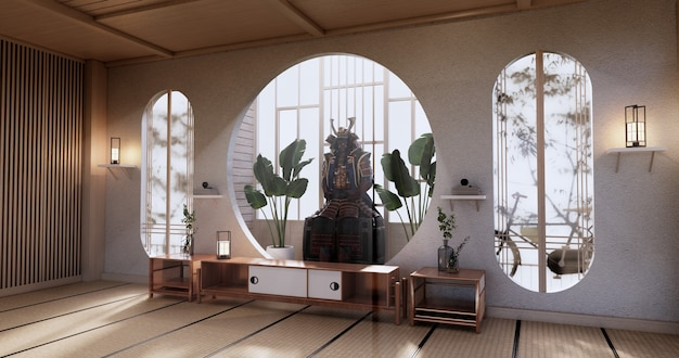 Kabinettholzdesign, rauminterieur, moderner japanischer stil. 3d-rendering