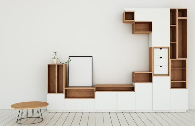 Kabinettmodell im modernen leeren raum, boden hölzern auf japanischer art des wandraumes wiedergabe 3d