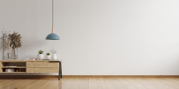 Kabinettmodell im modernen leeren raum, weiße wand, 3d-darstellung