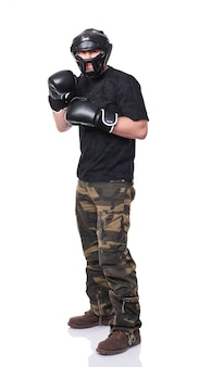 Kämpferporträt mit schutzausrüstung