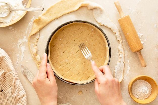 Käsekuchen kochen backen dessert fünf ein rezept draufsicht