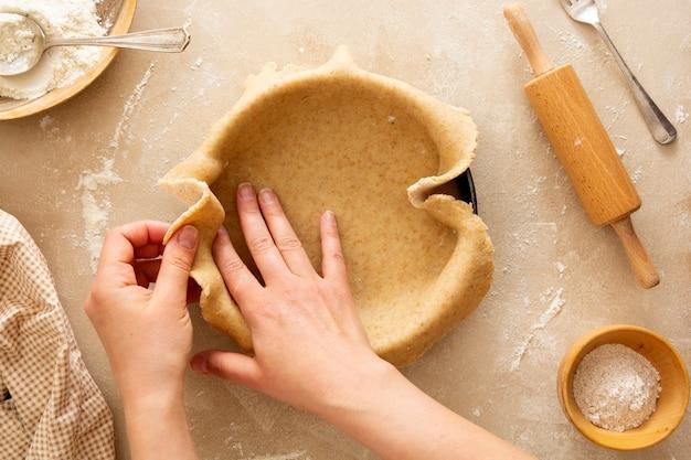 Käsekuchen kochen backen dessert schritt drei rezept draufsicht