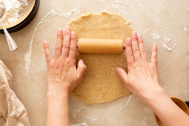 Käsekuchen kochen backen dessert schritt eins rezept draufsicht