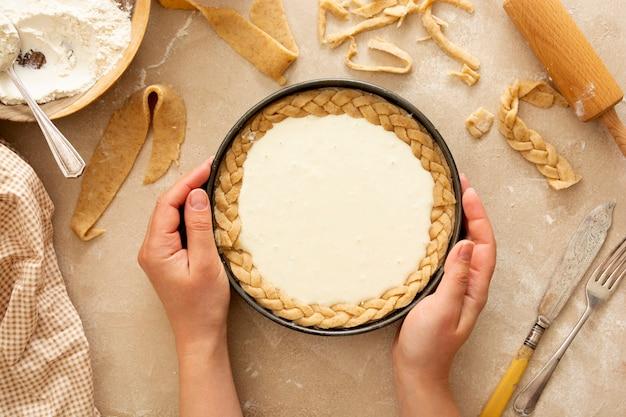 Käsekuchen kochen backen dessert schritt sieben rezept draufsicht