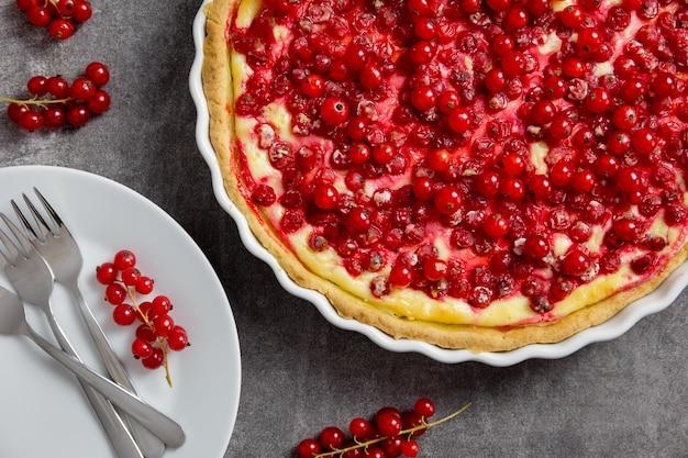 Käsekuchen mit roten johannisbeeren, torte mit frischen beeren in einer weißen auflaufform auf dunkelgrau.