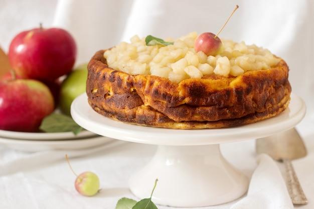 Käsekuchen oder auflauf aus hüttenkäse mit äpfeln, serviert mit apfelmus-kompott. rustikaler stil.