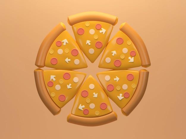 Käsepizza in gleiche stücke geschnitten auf dem hintergrund flache lage von vier käsepizza 3d-rendering