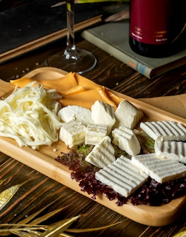 Käseplatte mit weißem käseschnurkäse und gelbem käse