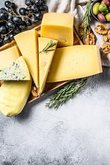 Käseplatte serviert mit trauben, crackern, oliven und nüssen. verschiedene leckere snacks.