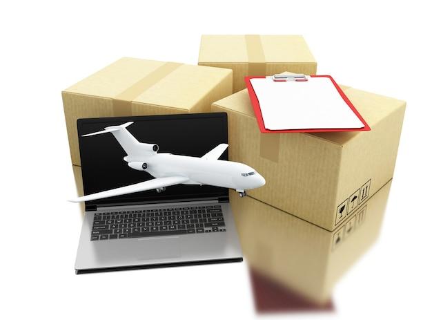 Kästen 3d carbboard mit laptop, flugzeug und checkliste