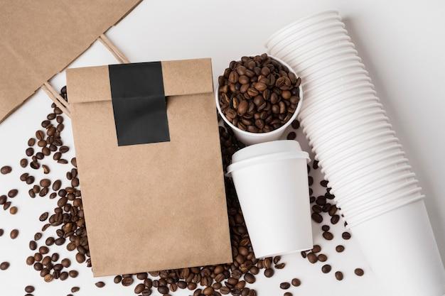 Kaffee-branding-artikel von oben