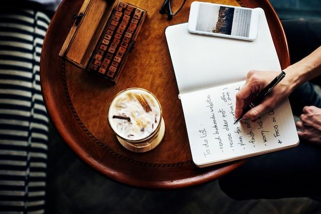 Kaffee-entspannungs-getränk-planungs-daten-digital-konzept