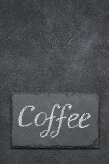 Kaffee handgeschriebene inschrift zeichen auf kreidetafel
