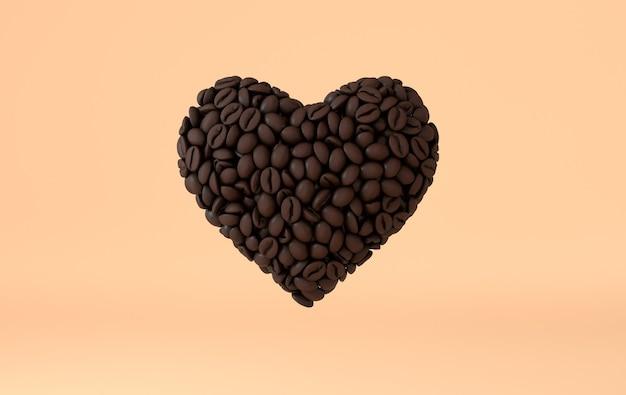 Kaffee-herz aus realistischen kaffeebohnen 3d rendering gemacht