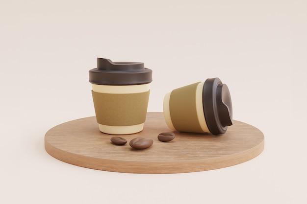 Kaffee pappbecher und bohnen