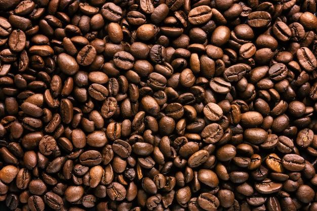 Kaffeebohnen. ansicht von oben. kaffee-konzept.