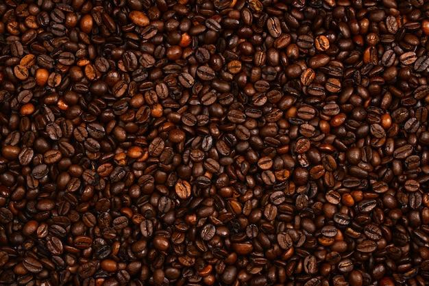 Kaffeebohnen hintergrund. ansicht von oben. kaffeebohnen textur.