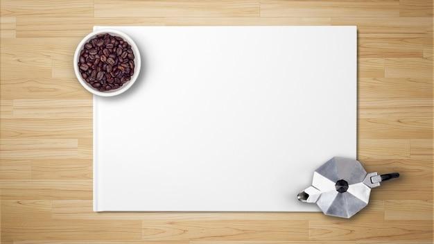 Kaffeebohnen in der schüssel mit kaffeemaschine auf weißbuch auf hölzernem hintergrund