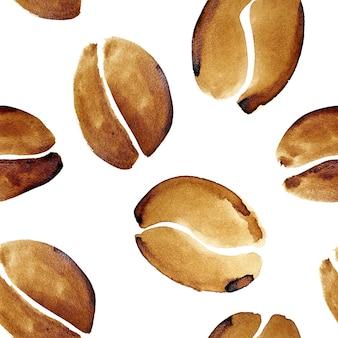 Kaffeebohnen in echtem kaffee - nahtloses muster