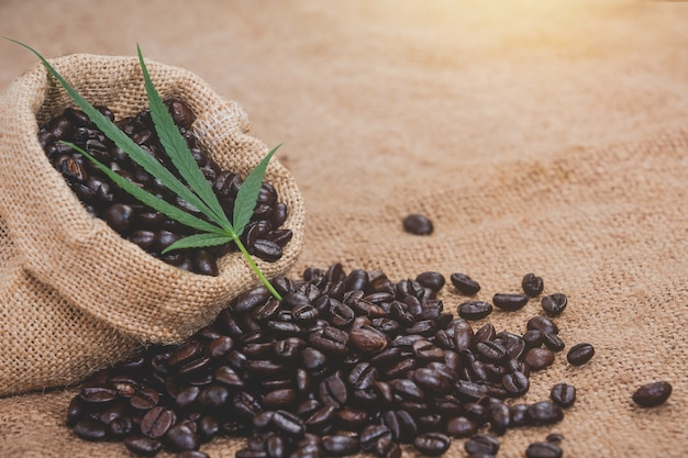 Kaffeebohnen werden aus dem beutel auf dem sackleinenboden gegossen und eine hanfoberseite wird gelegt