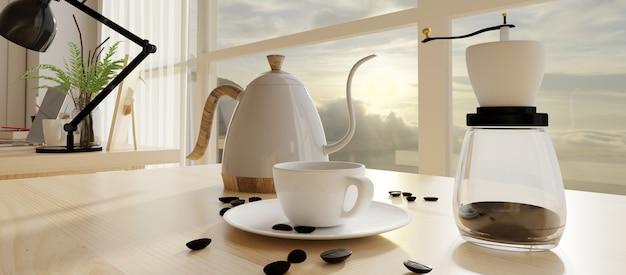 Kaffeeecke mit beunruhigtem fensterrahmen. 3d übertragen.