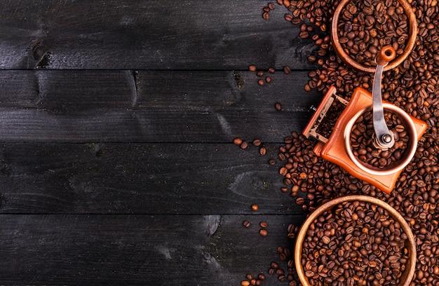 Kaffeehintergrund, draufsicht mit kopienraum