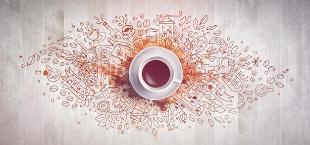 Kaffeekonzept auf hölzernem hintergrund - weiße kaffeetasse, draufsicht mit gekritzelillustration über kaffee, bohnen, morgen. hand zeichnen elemente und kaffee illustration