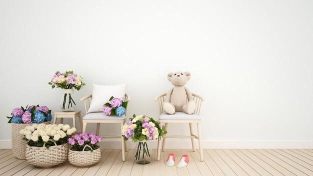 Kaffeestube- oder kinderraumdekorationsblume wiedergabe 3d