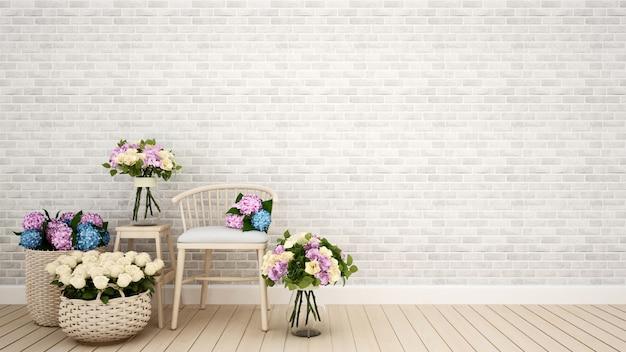 Kaffeestube- oder wohnzimmerdekorationsblume wiedergabe 3d