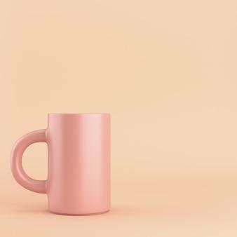 Kaffeetasse auf rosa pastell mit kopienraum. 3d-rendering