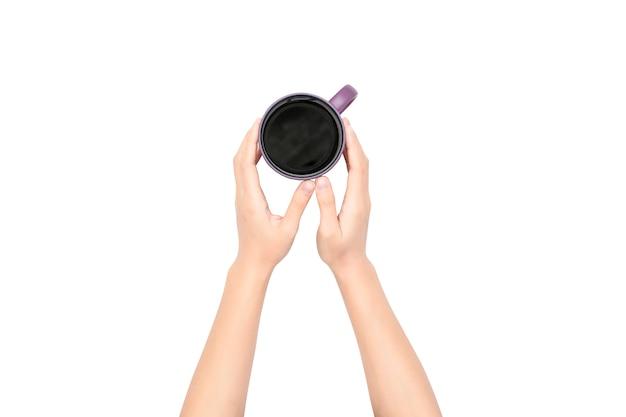 Kaffeetasse in der hand auf weiß
