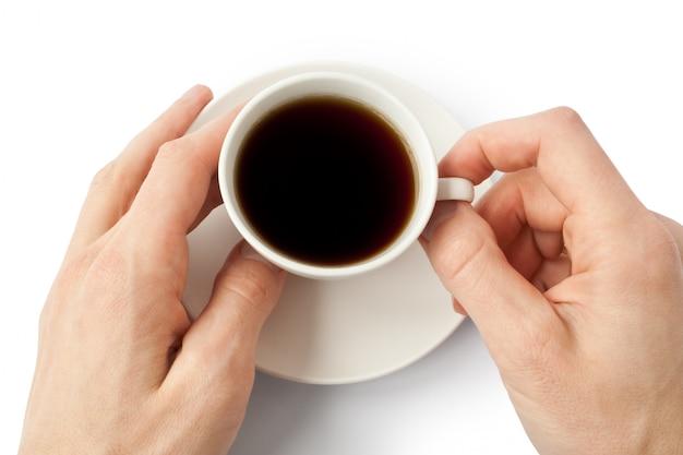 Kaffeetasse mit einer hand i
