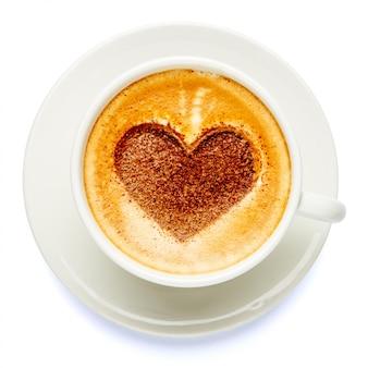Kaffeetasse mit herzform aus schaumstoff