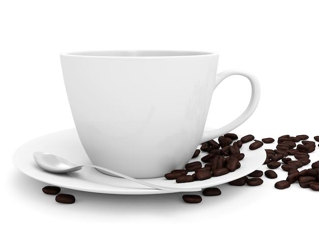 Kaffeetasse und bohnen lokalisiert auf weißem hintergrund