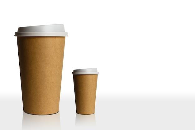 Kaffeetassengrößen isoliert auf weißem hintergrund