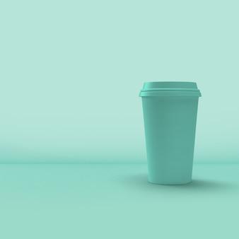 Kaffeetassenverpackung auf blauem hintergrund