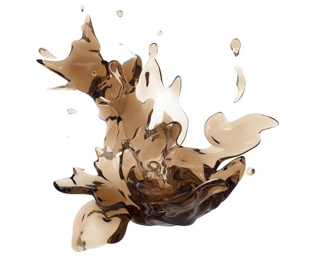 Kaffeewirbel und spritzer isolierte dunkle flüssige abstrakte form
