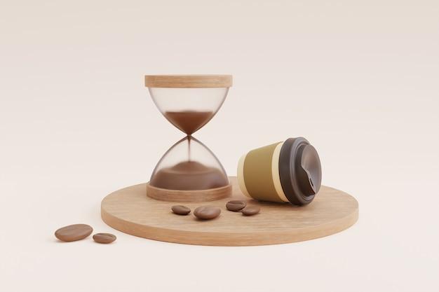 Kaffeezeitkonzept mit kaffeetasse und sanduhr