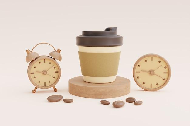 Kaffeezeitkonzept mit kaffeetasse und uhr