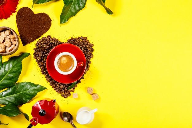 Kaffeezusammensetzung auf gelb