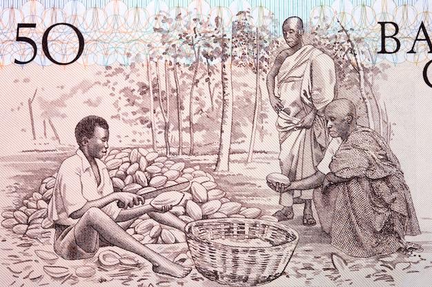 Kakaobauern aus altem ghanaischem geld