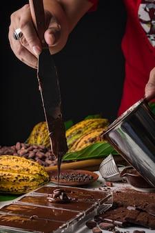 Kakaobohnenhülsen, schokoriegelstücke, kakaopulver
