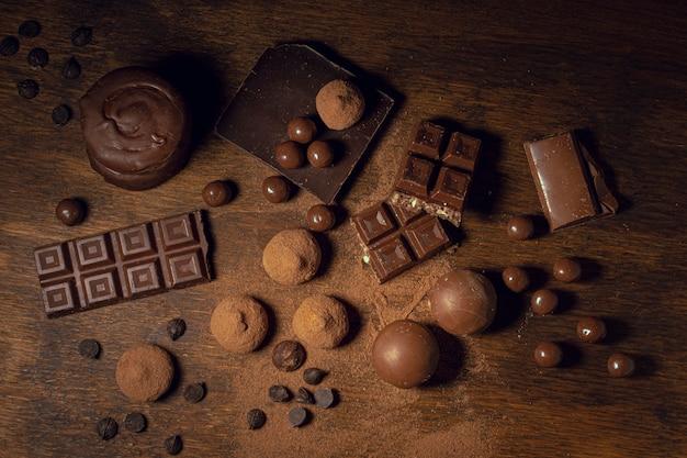 Kakaofeststoffe und schokoladenvielfalt