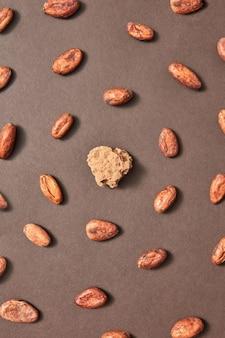 Kakaomasse inmitten runder kakaobohnen