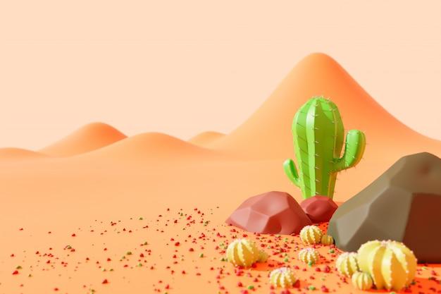 Kakteen und felsen auf der drückenden wüste im westlichen land. landschaft im niedlichen cartoonstil. kopieren sie links platz für ihren artikel. 3d-illustrations-rendering.