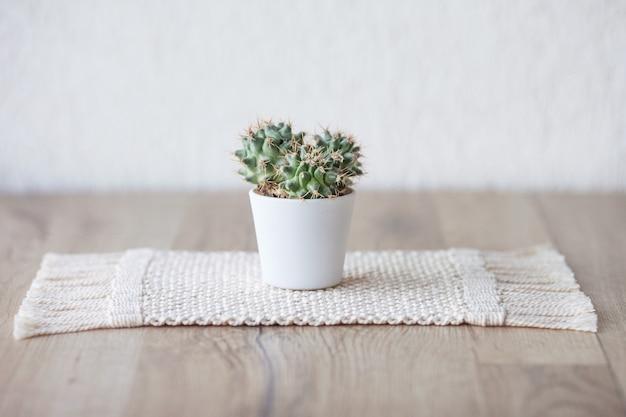 Kaktus im topf auf natürlichem baumwollgarnmattenteppich auf rustikalem holztisch. öko-stil mit grüner pflanze. moderne makramee handgemacht. gestricktes hauptdekorationskonzept